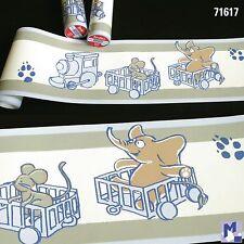 Cenefa Ribete Papel Pintado Marburg 71617 Locomotora Elefante Ratón 5m No Tejido
