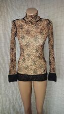 Jean Paul Gaultier floral tulle turtleneck top with knitted hems and cuffs sz L