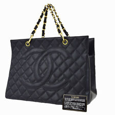 Auth CHANEL CC Grand Chain Hand Tote Bag Caviar Skin Leather BK Vintage 49W759