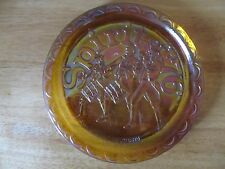 Vintage Amber Carnival Glass Spirit of '76 Commemorative Plate~Indiana Glass Co.
