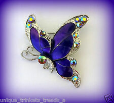 PRETTY PURPLE RHINESTONE BUTTERFLY BROOCH PIN~MOTHERS DAY GIFT IDEAS FOR HER MOM