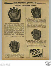 1929 PAPER AD Goldsmith Heine Groh Big Leaguer Baseball Glove LACED FINGERS RARE