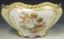 LIMOGES FRANCE GOLD TRIM SCALLOPED EDGE CUPIDS FOOTED BOWL