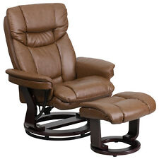 CONTEMPORARY PALIMINO LEATHER RECLINER AND OTTOMAN WITH SWIVELING MAHOGANY WOOD