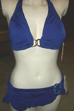 NEW Becca purple violet blue bikini swimsuit small top jewel skirt medium bottom