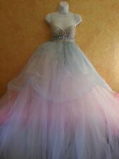 Tiffany Blue & Silver Empire Babydoll Tulle Tutu Empire Bridal Wedding Ballgown