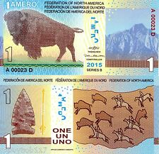 FEDERATION NORTH AMERICA 1 Amero Banknote World Money Currency FUN Note Bill