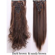 Real Thick Full Head Deluxe 8Pcs 18 Clips Clip In On Hair Extensions Brown Black