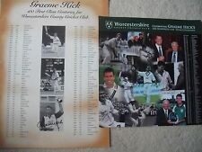 GRAEME HICK SIGNED WORCESTERSHIRE CRICKET CENTURIES POSTER