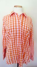 BASIC EDITIONS White  Peach Checks print Long Sleeve Button Front Shirt Size l