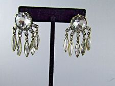 Vintage Marquise Rhinestone Dangle Antique Gold Tone Pierced Earrings 1.5 ""