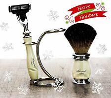 Ivory Color 3 Piece Men's Shaving Set. Badger Hair Brush, Mach 3 Razor & Stand.