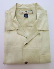 Tommy Bahama Relax Short Sleeve Silk Beige Patchwork Textured Camp Shirt Medium