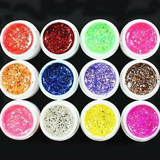 12 Pcs Mix Color Glitter Hexagon Sheet Nail Art UV Builder Gel for Nail Tips Set
