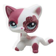 #2291 Littlest Pet Shop Pink White Sparkle Glitter Short Hair Cat Kitty Girl Toy