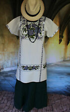 Grey, Green & Black Cream Floral Hand Embroided Huipil Oaxaca Mexico Hippie Boho