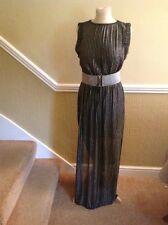 GREAT RIVER ISLAND SILVER & BLACK FULL LENGTH DRESS WITH BELT UK SIZE 8 WORN