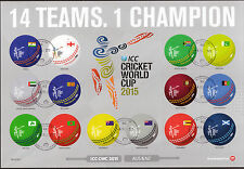 NEW ZEALAND 2015 CRICKET WORLD CUP SHEETLET OF 14 FINE USED