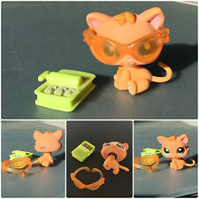 Littlest Pet Shop #2020 Baby Kitten Cat Orange & Yellow Green Eyes Glasses Fish