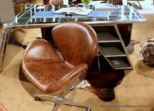 """34"""" H Desk aviator chair vintage brown top grain leather on casters aluminum"""