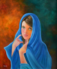The Lady in Blue Giclee Fine Art Reproduction by the Artist Miguel Sorto
