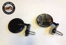 "2 x 3"" (8cm) Round Bar End Cafe Racer Mirrors for Cafe Racer Project kit"