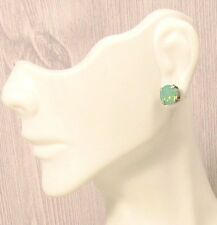 8mm MINT GREEN Antiqued ~ PACIFIC OPAL STUD EARRINGS made w/ Swarovski Crystals