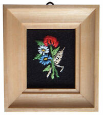 Dolls House Hand Made Miniature 1980s Embroidery Picture Light Wood Frame Poppy