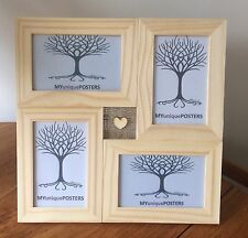 Handmade Multi Collage Photo Picture Frame Solid Wood Hessian & Heart Decoration