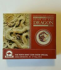 2012 YEAR OF THE DRAGON BRISBANE ANDA Coin Show Silver Coin