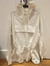 ADORABLE HOODED DRAWSTRING RAIN JACKET WITH KANGAROO POCKET IN CREAM SIZE S