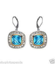 CLASSIC 18kt White Gold EP Blue Topaz CZ Crystal Petite Dangle Earrings