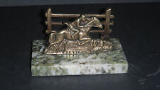 VINTAGE BRASS HORSE & RIDER BY A FENCE LETTER RACK DESK TIDY ON MARBLE OR ONYX