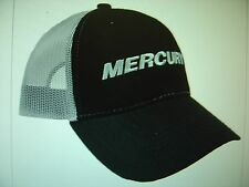 "MERCURY OUTBOARDS PARTS ""NEW"" BLACK WITH GREY MESH * VELCRO ADJUST ""CAP HAT"""