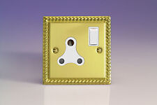 Varilight 1-Gang 15A Round Pin Plug Socket  Georgian Brass XGRP15AW