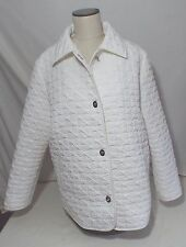 Gallery White Quilted Light weight Short Jacket Coat Turn Key Buttons L