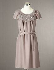 BODEN BNIB Embellished Silk Dress - Light Taupe - UK 12 R; US 8R; D 38; F 40
