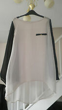 NEW LOOK LADIES BEIGE BLACK BLOUSE TOP SIZE 8
