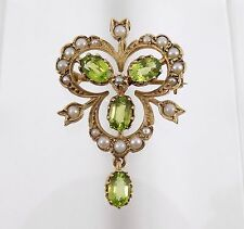 Vintage 9ct Gold Victorian Style Peridot & Seed Pearl Pendant/Brooch, 1985
