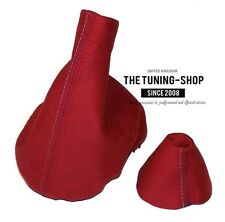 FITS BMW 3 SERIES E46 SMG GEAR HANDBRAKE GAITER SET Red Suede M3 Stitching