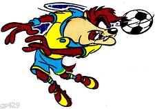 """10.5"""" LOONEY TUNES TAZ SPORTS SOCCER  CHARACTER FABRIC APPLIQUE IRON ON"""