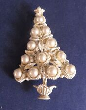 Vintage Silver Starr Gold & White Flocked Pearl Christmas Tree Pin Brooch
