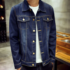 Fashion MEN'S JEAN JACKET SLIM FIT Single-breasted Denim Coat Fashion Tops M-3XL