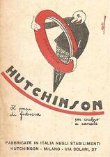 Z2392 Pneumatici HUTCHINSON per cerchio a canale - Pubblicità 1929 - Vintage ad