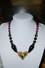 LILAC GLASS BLACK ACRYLIC BEADS NECKLACE WITH GOLD TONED METAL HEART CENTERPIECE
