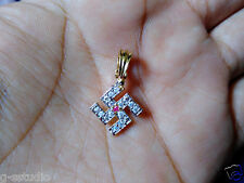 ONE GRAM GOLD PLATED SWASTIK SHAPED LOCKET PENDANT CUBIC ZIRCONIA DIAMOND S500