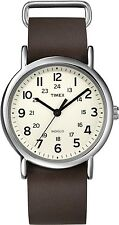 Timex Men's Weekender T2N893 White Calf Skin Quartz Watch