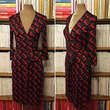 DVF Diane von Furstenberg 100% silk 'Julian' Vintage print wrap dress US 6 UK 8