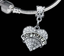 Softball charm  fits european style bracelet  softball player gift  (charm only)