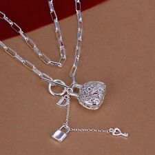 925 Sterling Silver Necklace Pendant Good Luck Bag Key B72